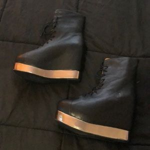 black  silver platform wedge zip up booties